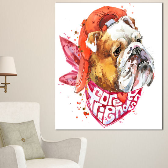 Designart Forever Friends Funny Dog Animal CanvasWall Art