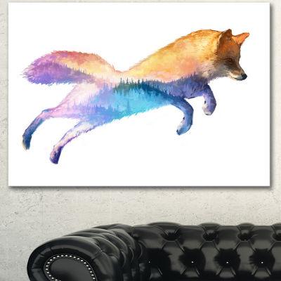Design Art Fox Double Exposure Illustration LargeAnimal Canvas Art Print - 3 Panels