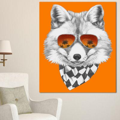 Designart Fox With Mirror And Sunglasses Contemporary Animal Art Canvas - 3 Panels