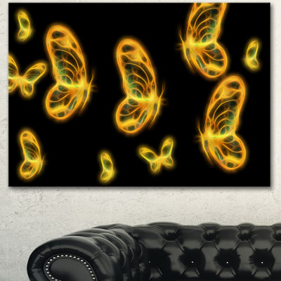 Design Art Fractal Butterflies On Dark BackgroundFloral Canvas Art Print