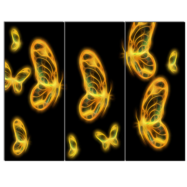 Designart Fractal Butterflies On Dark BackgroundFloral Canvas Art Print - 3 Panels