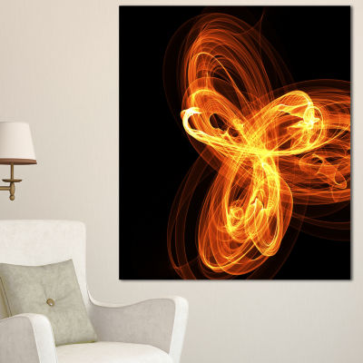Design Art Fractal Fire Pattern Painted In Air Large Abstract Canvas Wall Art - 3 Panels