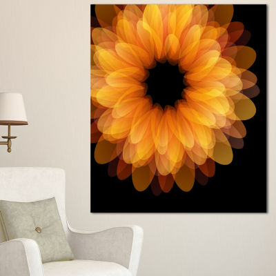 Designart Fractal Flower Petals On Black Floral Canvas Art Print - 3 Panels