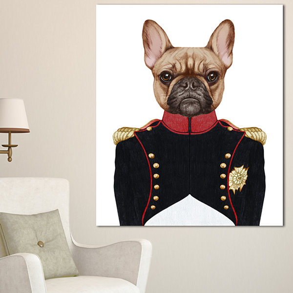Designart French Bulldog In Military Uniform Animal Canvas Art Print