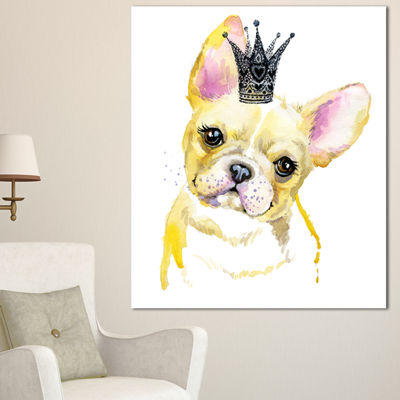 Designart French Bulldog With Black Crown Contemporary Animal Art Canvas - 3 Panels