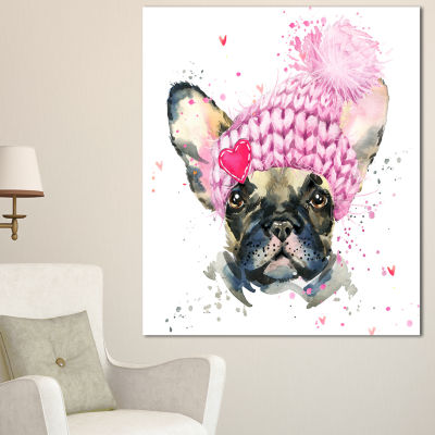 Design Art French Bulldog With Pink Hat Contemporary Animal Art Canvas - 3 Panels