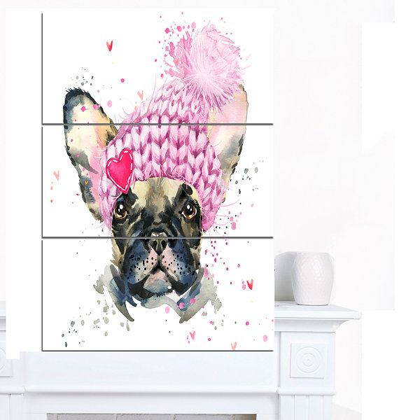 Designart French Bulldog With Pink Hat Contemporary Animal Art Canvas - 3 Panels