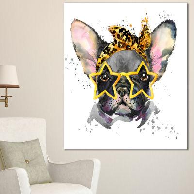 Design Art French Bulldog With Star Glasses AnimalCanvas Wall Art