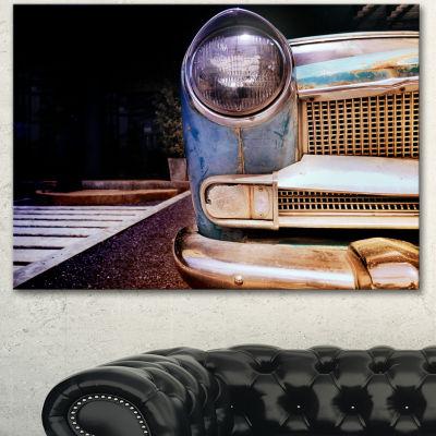 Design Art Front Headlight Of Vintage Car Cars Canvas Art Print