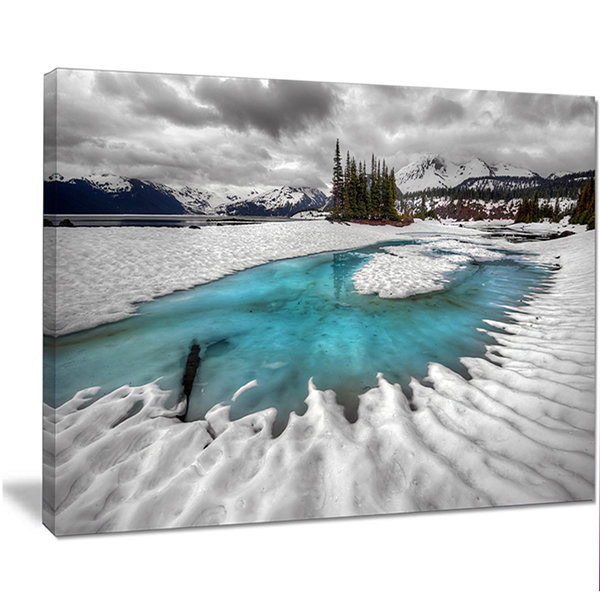 Design Art Frosted Crystal Clear Lake Large Landscape Canvas Art Print