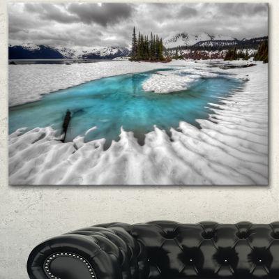 Designart Frosted Crystal Clear Lake Large Landscape Canvas Art Print - 3 Panels