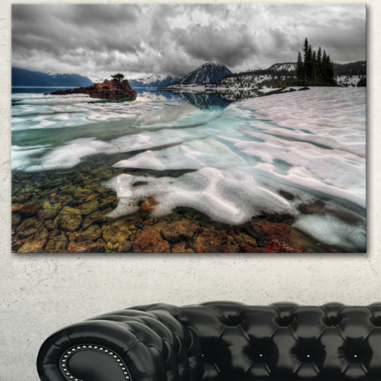 Designart Frozen Mountain Lake Shore Large Landscape Canvas Art