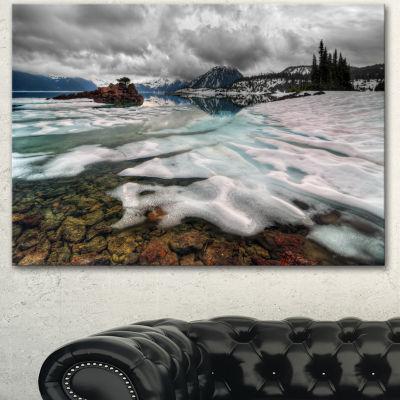 Designart Frozen Mountain Lake Shore Large Landscape Canvas Art - 3 Panels