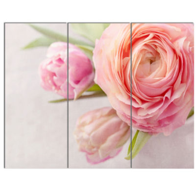Designart Full Bloom And Blooming Flowers Floral Canvas Art Print - 3 Panels