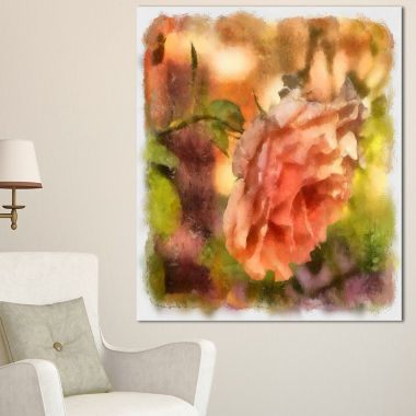 Designart Full Bloom Orange Rose Watercolor FloralCanvas Art Print