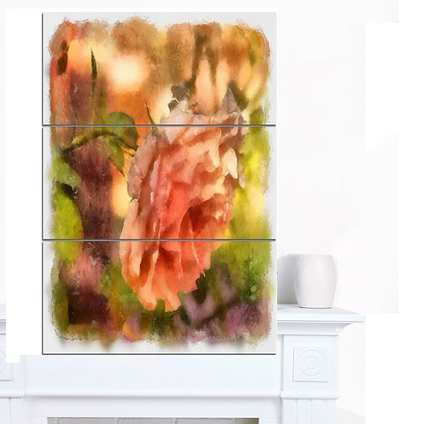 Designart Full Bloom Orange Rose Watercolor FloralCanvas Art Print - 3 Panels