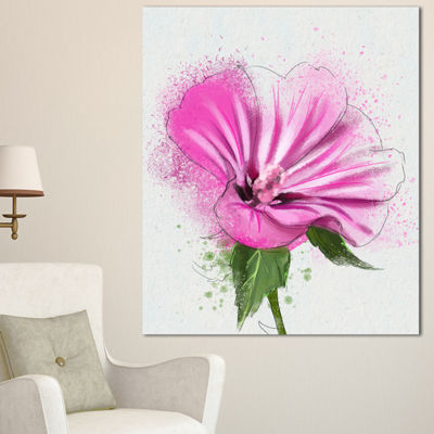 Designart Full Bloom Pink Flower With Leaves Floral Canvas Art Print