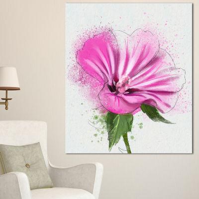 Designart Full Bloom Pink Flower With Leaves Floral Canvas Art Print - 3 Panels