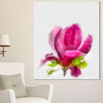 Designart Full Bloom Pink Magnolia Flower Large Floral Canvas Artwork - 3 Panels