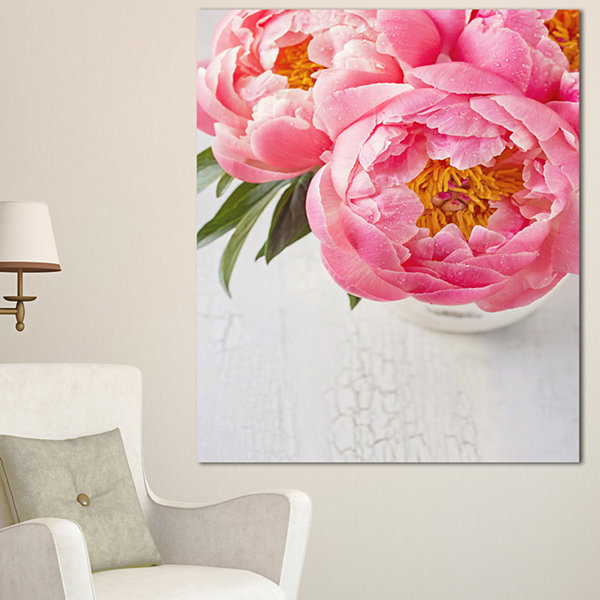 Designart Full Bloom Pink Peony Flowers Floral Canvas Art Print - 3 Panels