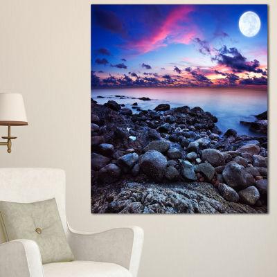 Designart Full Moon Fantasy Seascape Large Landscape Canvas Art - 3 Panels