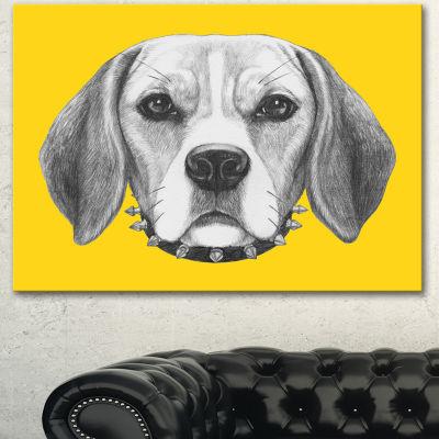 Design Art Funny Beagle Dog With Collar Animal Canvas Art Print