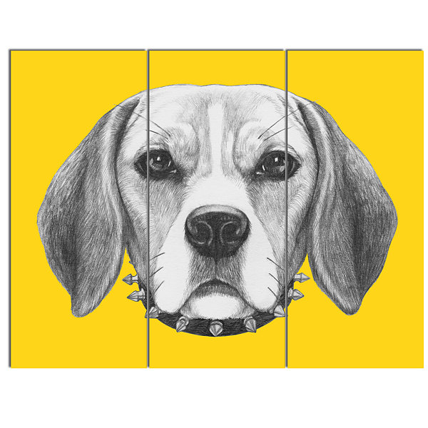 Designart Funny Beagle Dog With Collar Animal Canvas Art Print - 3 Panels
