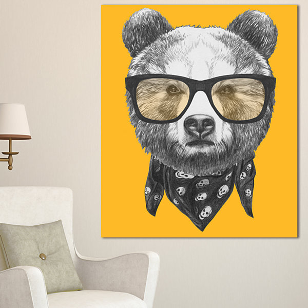 Designart Funny Bear With Formal Glasses Contemporary Animal Art Canvas