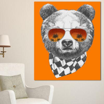 Designart Funny Bear With Sunglasses Animal CanvasArt Print