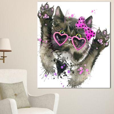 Designart Funny Black Cat Illustration Animal Canvas Wall Art - 3 Panels