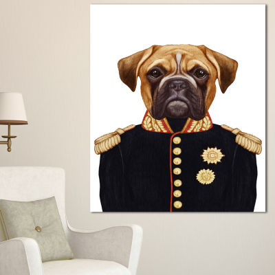 Design Art Funny Boxer Dog In Military Uniform Animal Canvas Art Print - 3 Panels