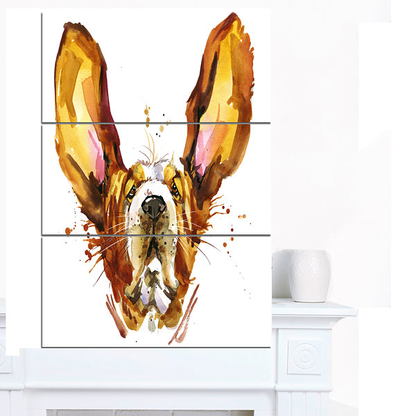 Design Art Funny Brown Dog Basset Animal Canvas Wall Art - 3 Panels