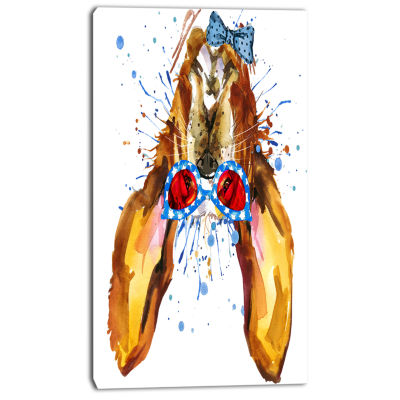 Designart Funny Brown Dog With Glasses Animal Canvas Wall Art