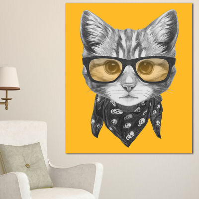 Designart Funny Cat With Glasses And Scarf AnimalCanvas Art Print