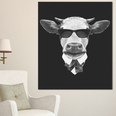 Designart Funny Cow In Suit With Glasses Animal Canvas Art Print