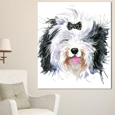Designart Funny Dog Head Black White Animal CanvasWall Art