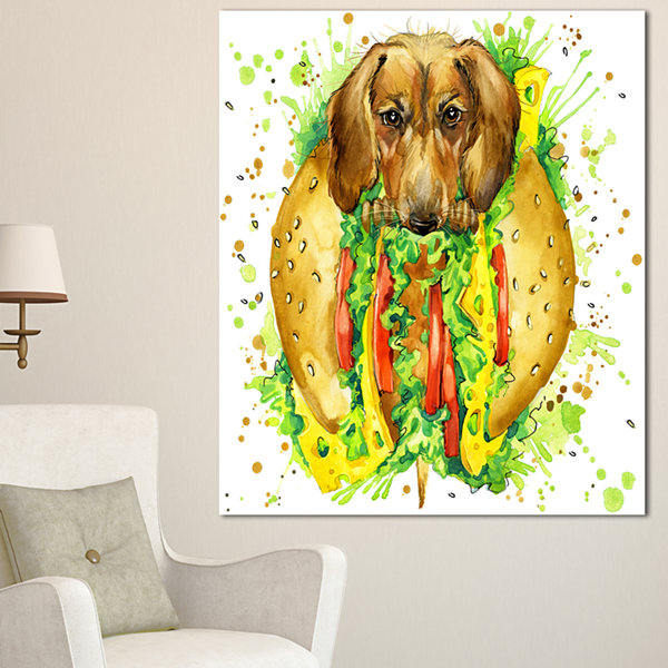 Designart Funny Dog Inside Sandwich ContemporaryAnimal Art Canvas - 3 Panels