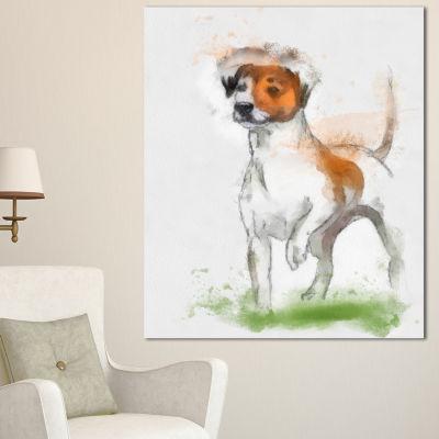 Designart Funny Dog Walking On Grass Animal CanvasArt Print