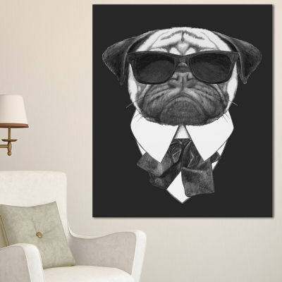 Designart Funny Dog With Black Glasses Animal Canvas Art Print - 3 Panels