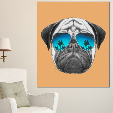 Designart Funny Dog With Blue Glasses Animal Canvas Art Print