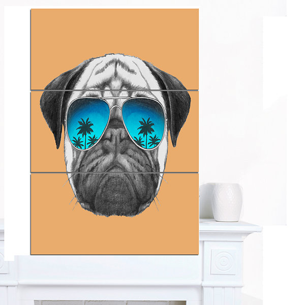 Design Art Funny Dog With Blue Glasses Animal Canvas Art Print - 3 Panels
