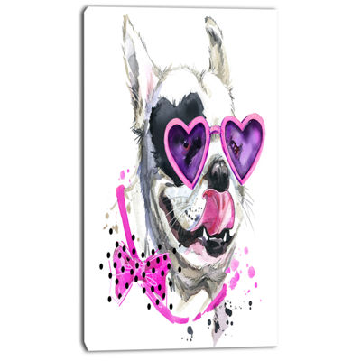 Designart Funny Dog With Heart Glasses Animal Canvas Wall Art