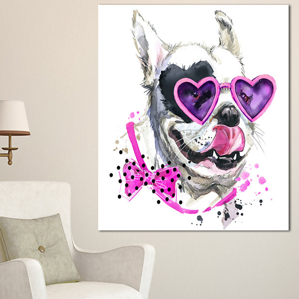 Designart Funny Dog With Heart Glasses Animal Canvas Wall Art - 3 Panels