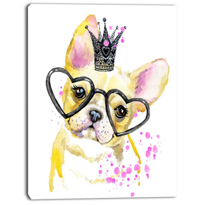 Designart Funny Dog With Large Glasses Contemporary Animal Art Canvas