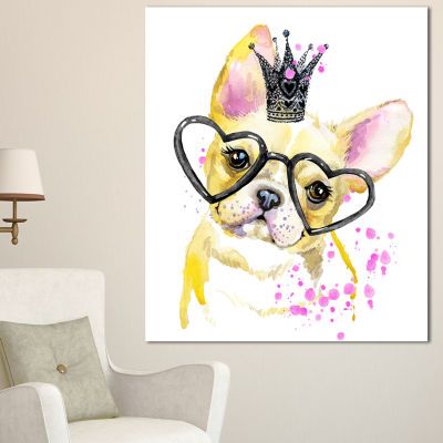 Designart Funny Dog With Large Glasses Contemporary Animal Art Canvas - 3 Panels