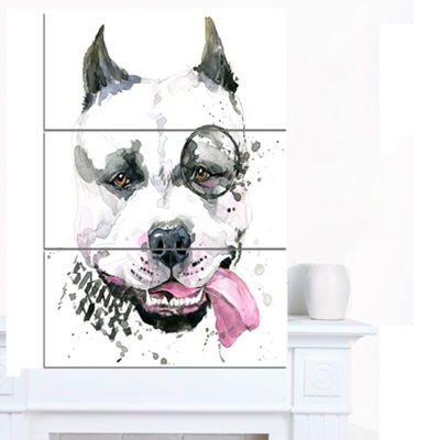 Designart Funny Dog With Single Lens ContemporaryAnimal Art Canvas - 3 Panels