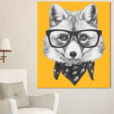 Designart Funny Fox With Formal Glasses Contemporary Animal Art Canvas