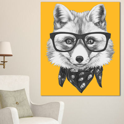 Designart Funny Fox With Formal Glasses Contemporary Animal Art Canvas - 3 Panels