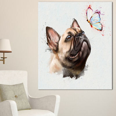 Designart Funny French Dog With Butterfly Oversized Animal Wall Art - 3 Panels