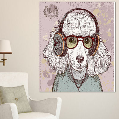 Designart Funny Hipster Poodle With Glasses Contemporary Animal Art Canvas